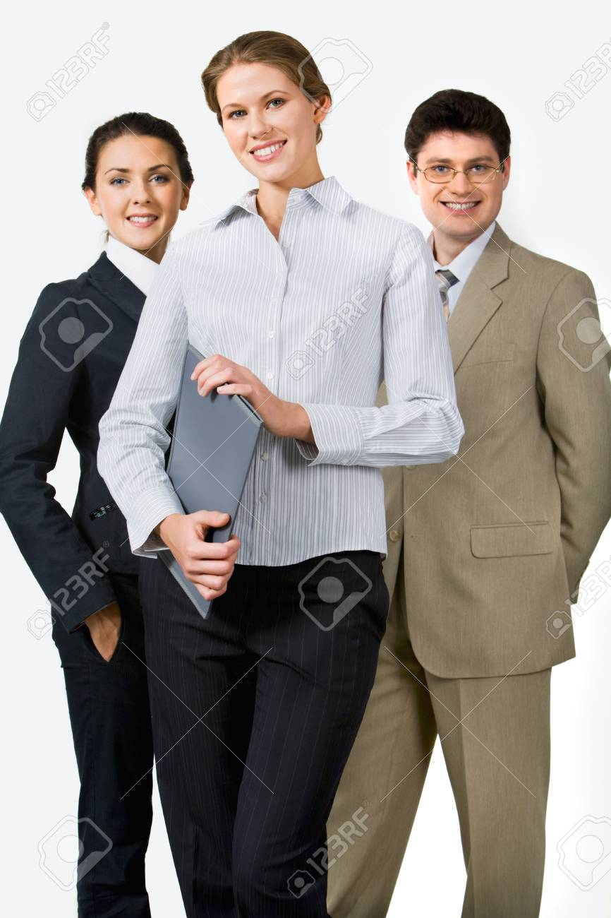 Photo of beautiful female leader on the background of her business team Stock Photo - 8393477