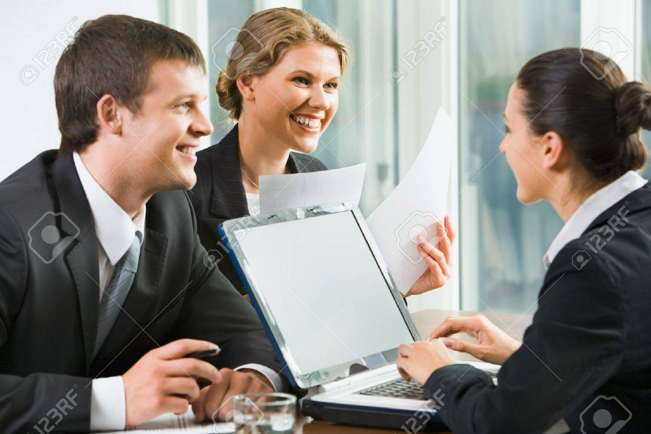 Business people tell conditions of the new agreement to their partner on job Stock Photo - 8394455