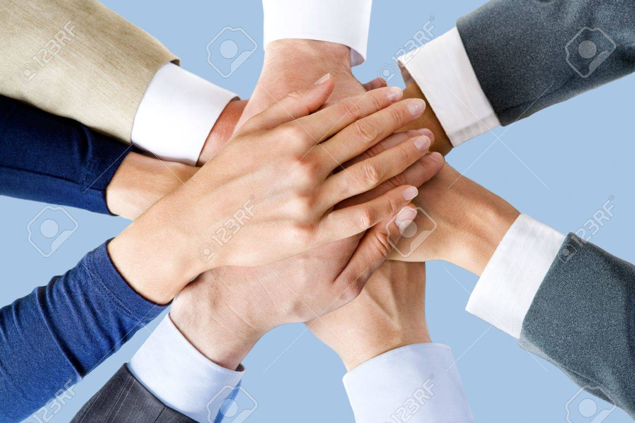 Photo of business people�s hands on top of each other Stock Photo - 8394630