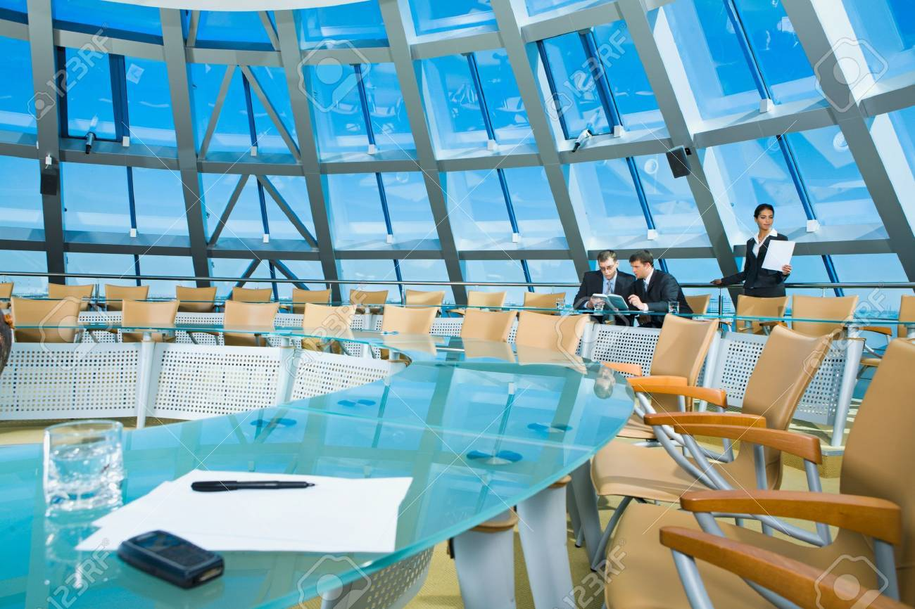 Customary conference room: glassy table, chair, large window Stock Photo - 8395778