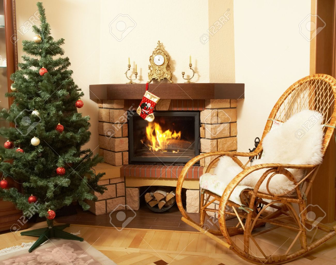 Image Of House Room With Rocking-chair, Christmas Tree, Fireplace ...