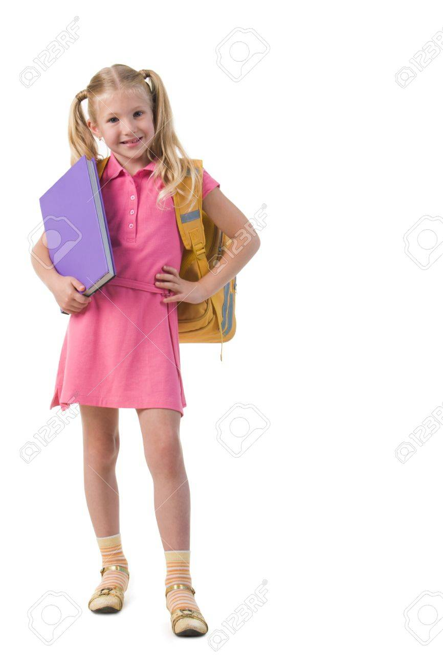 Image of smart schoolgirl with big book in hand posing before camera Stock Photo - 8454966