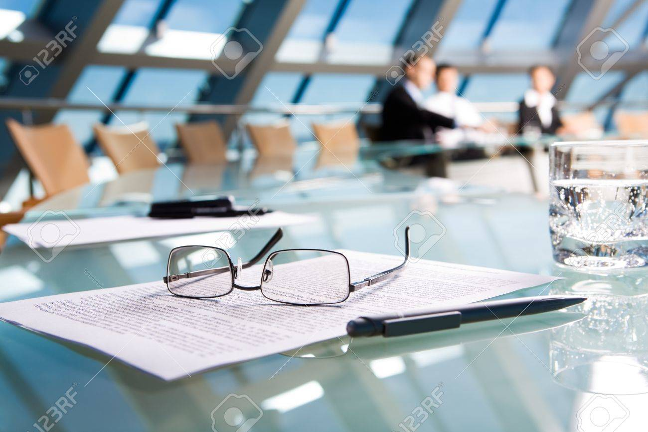 Image of several objects lying on the table in the conference room Stock Photo - 8508212