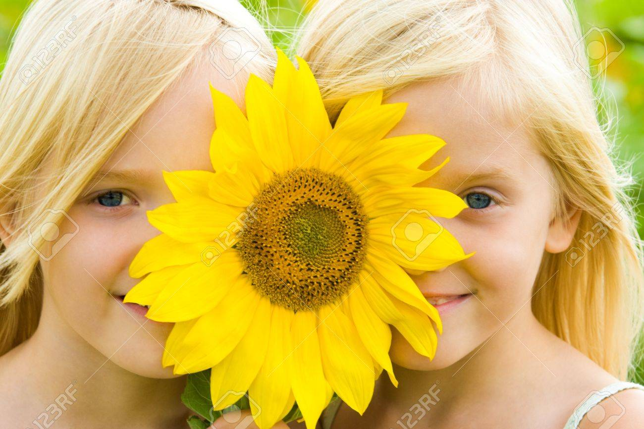 Close-up of pretty twins looking at camera from behind of gaudy sunflower Stock Photo - 8508082