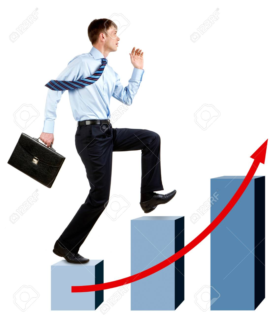 Image of happy businessman running upwards on chart column tops Stock Photo - 8522288