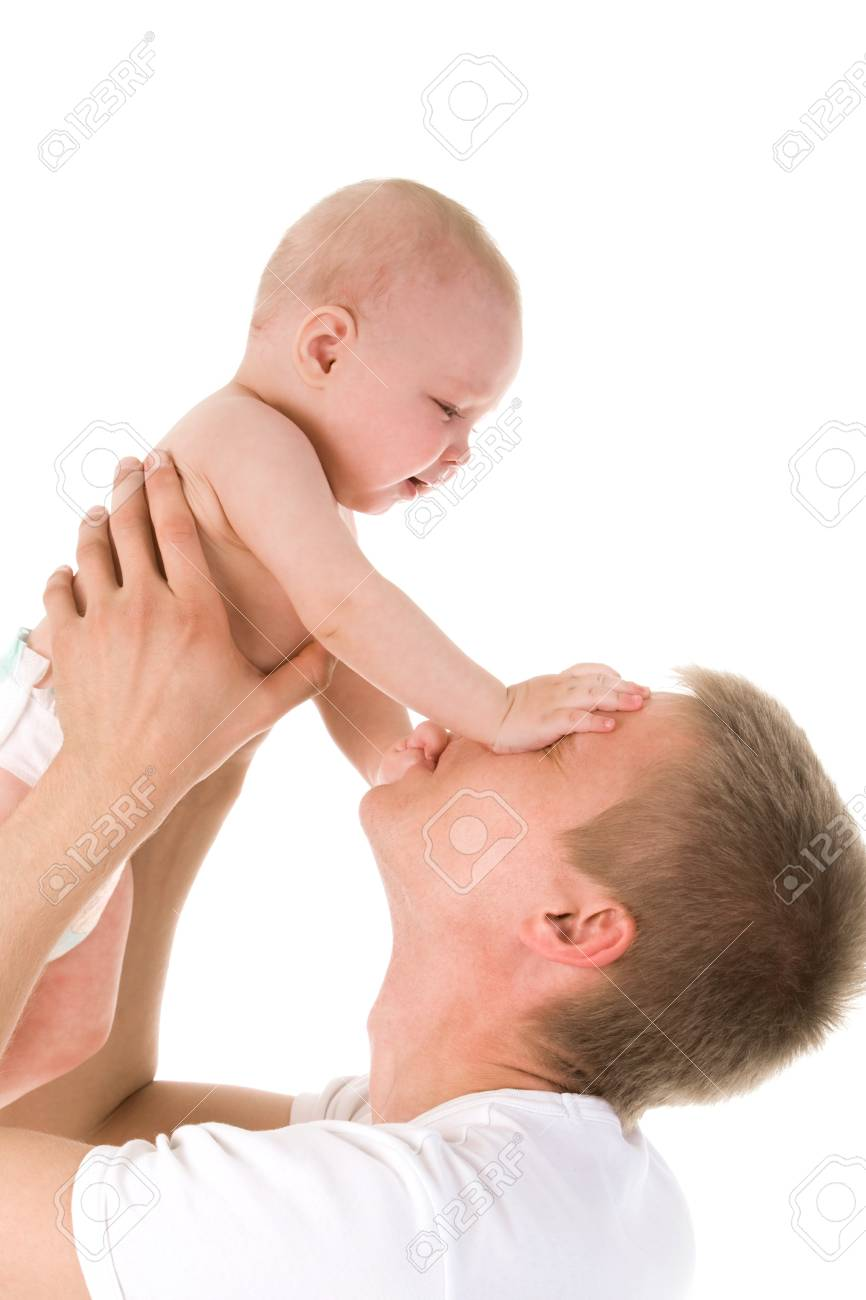 Portrait of loving father and his baby cuddling Stock Photo - 8531032