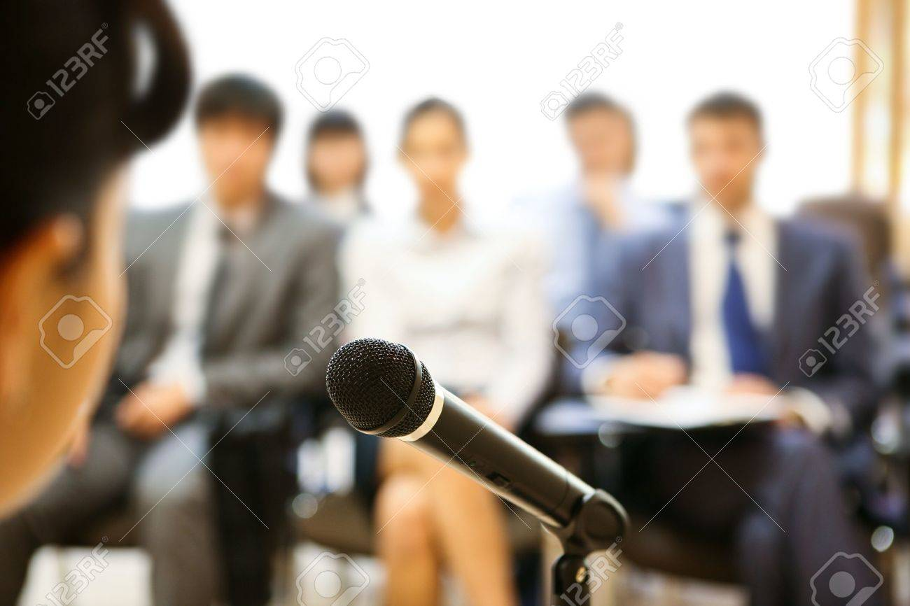 Image of microphone being used by speaker during lecture at conference Stock Photo - 9163127