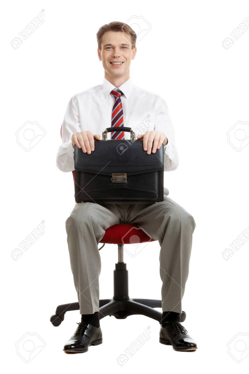 Portrait of cheerful boss sitting in armchair with case in hands Stock Photo - 9206803
