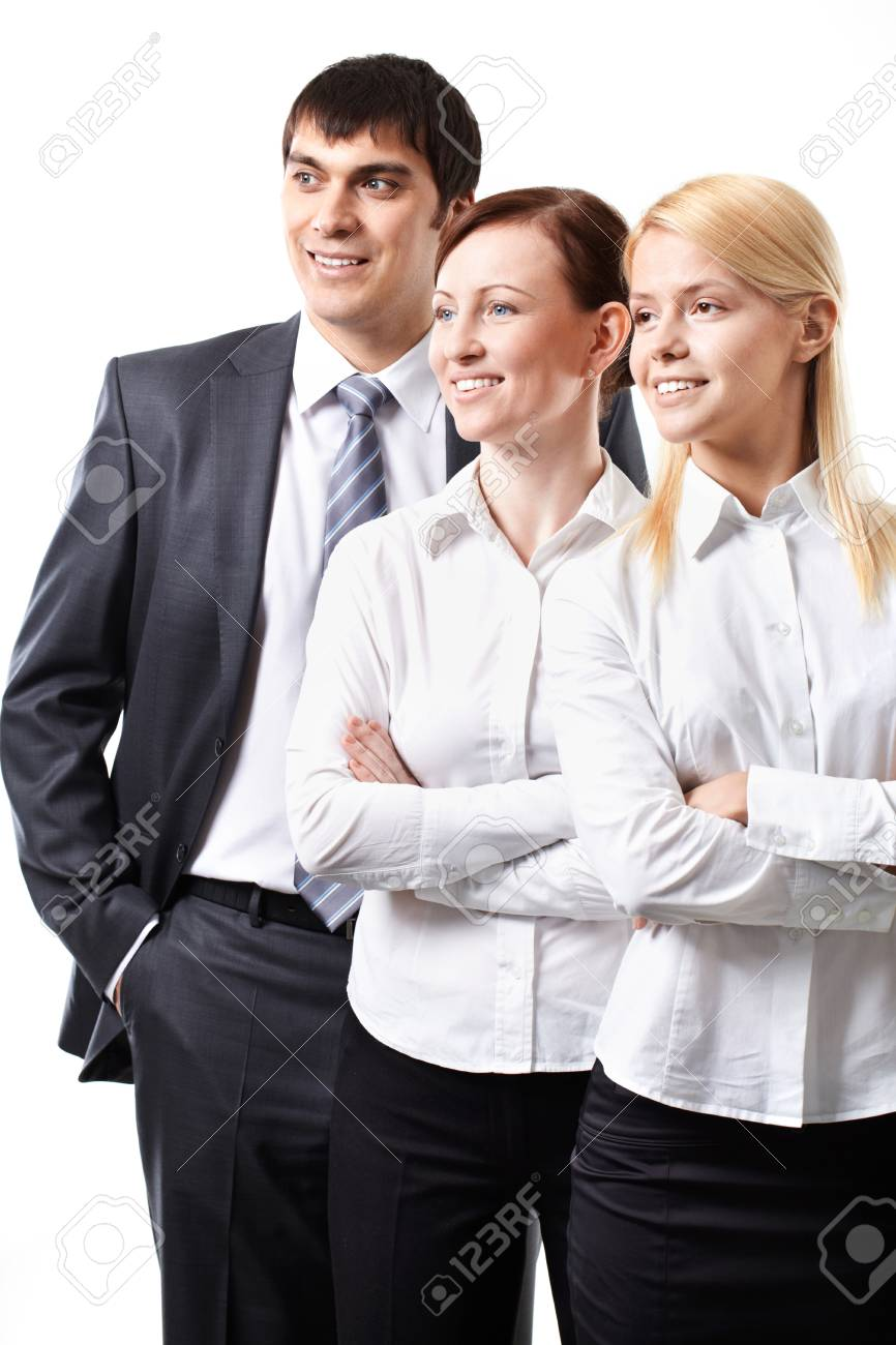 Three confident business people standing isolated on white Stock Photo - 9263183