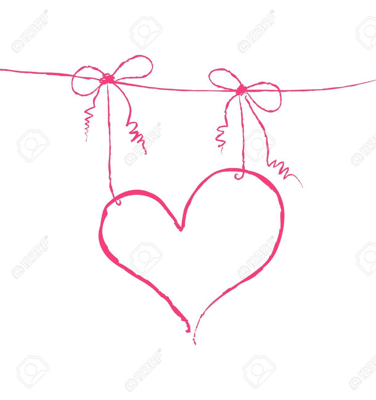 Vector illustration of a heart hanging on strings Stock Vector - 9426949