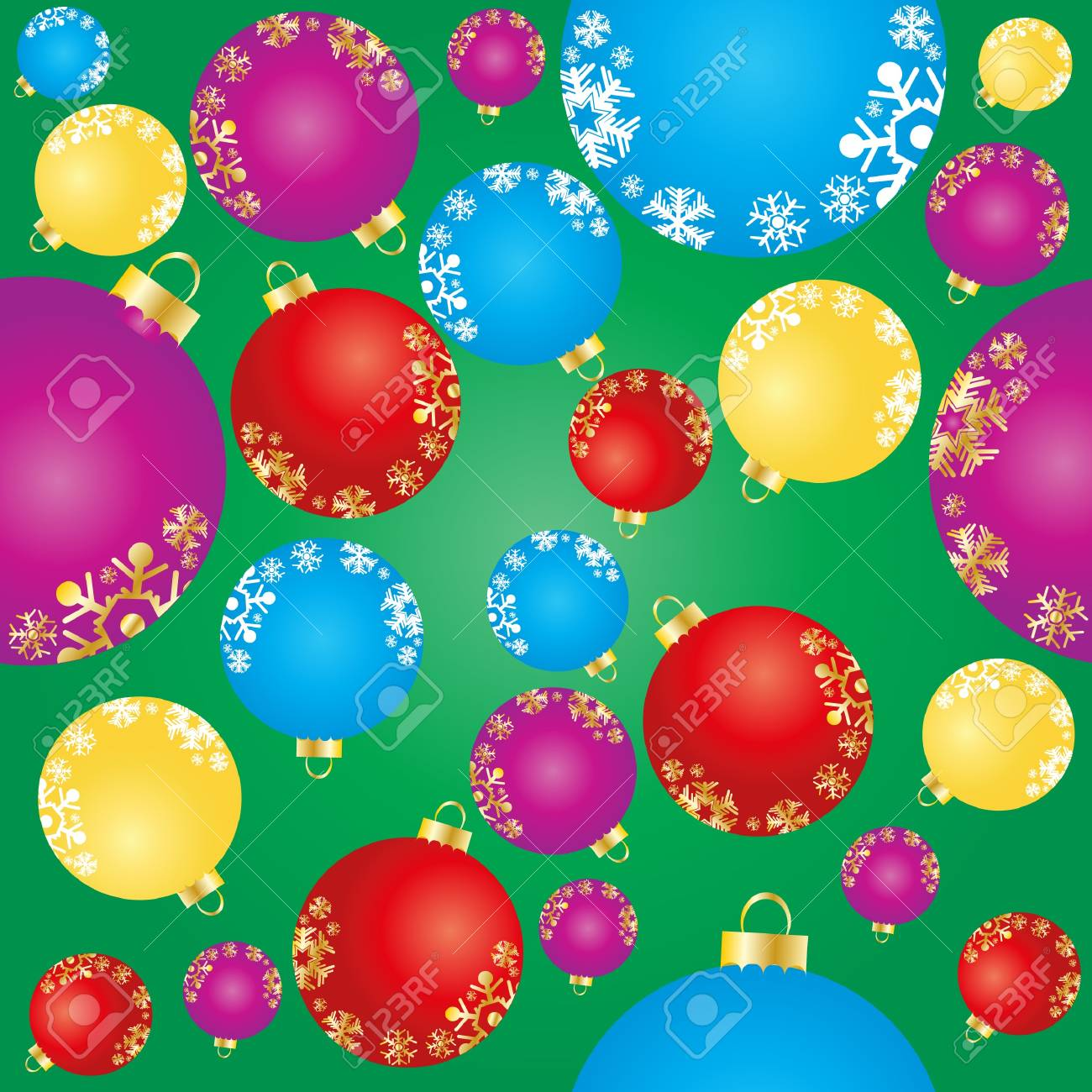 Vector illustration of green background with Christmas elements Stock Vector - 9428521