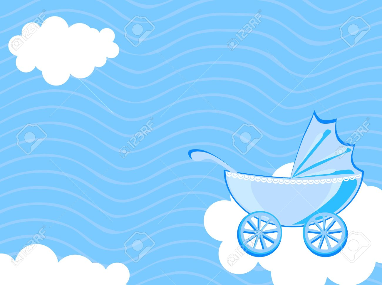 Vector Illustration Of Baby Carriage On The Background Of Cloudy ...