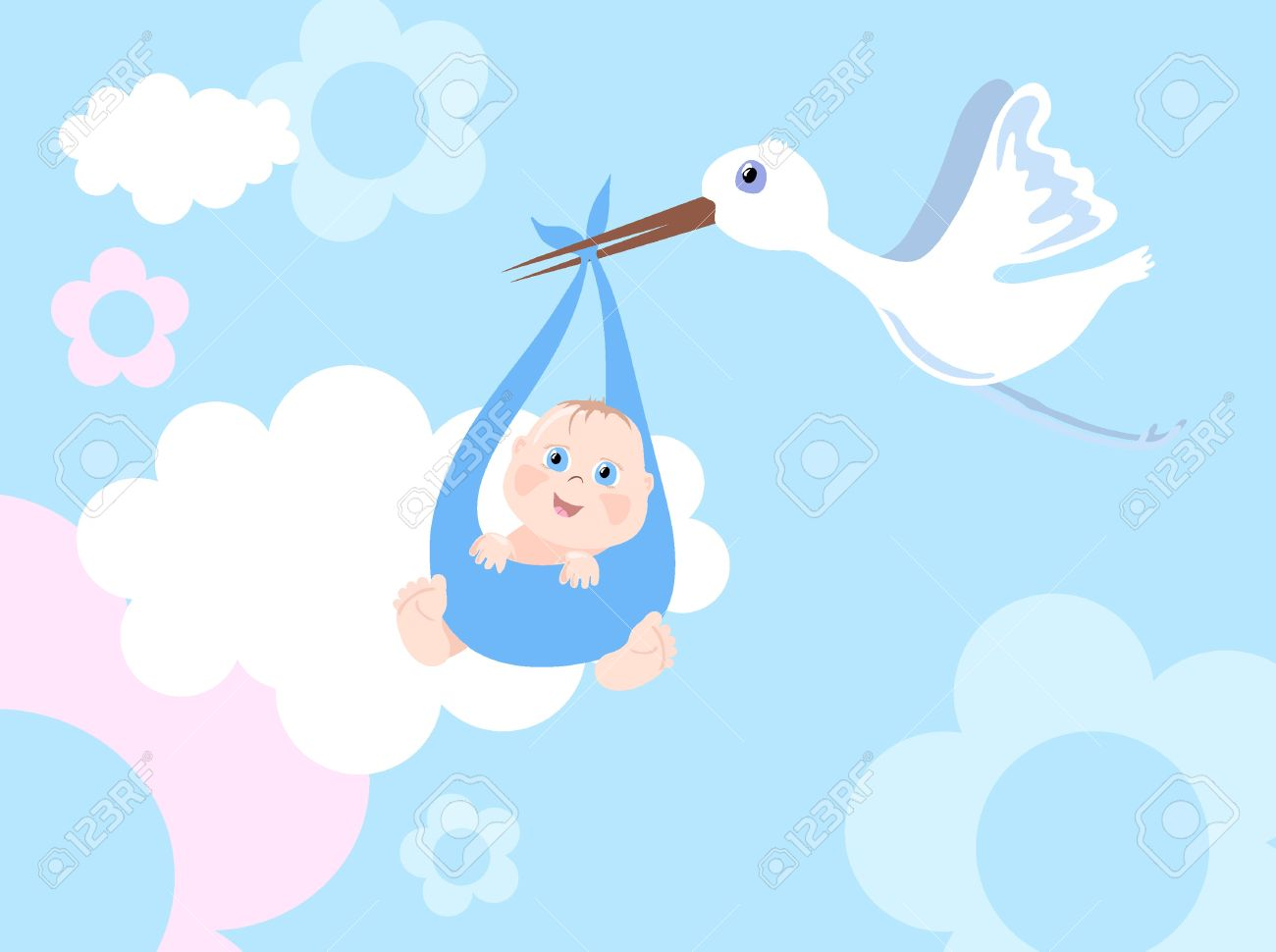 Baby Shower Stork Clipart ~ Vector illustration of stork with infant royalty free cliparts