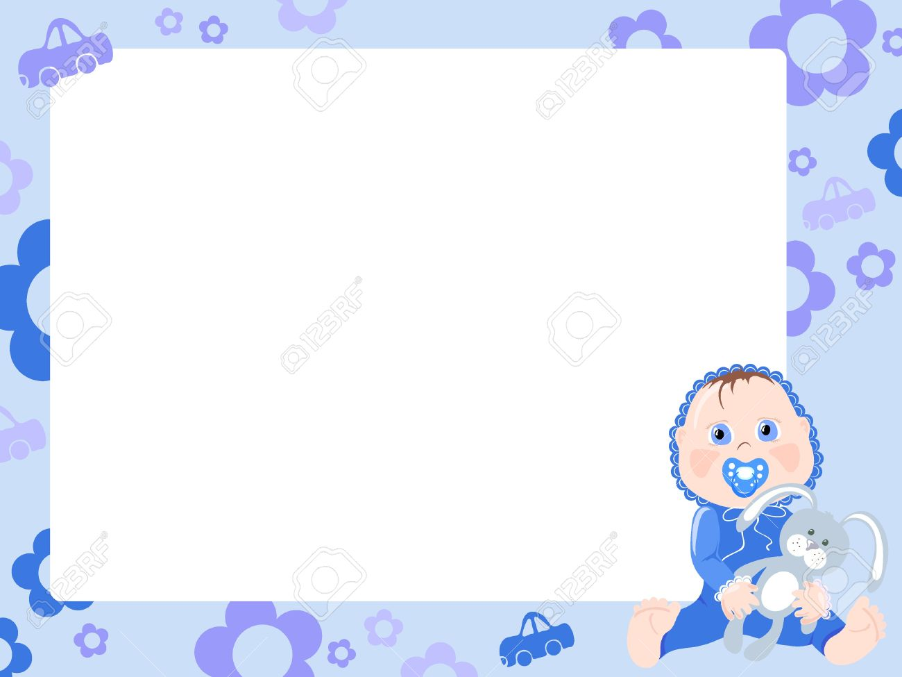 Blue frame for boy. Stock Vector - 9455166