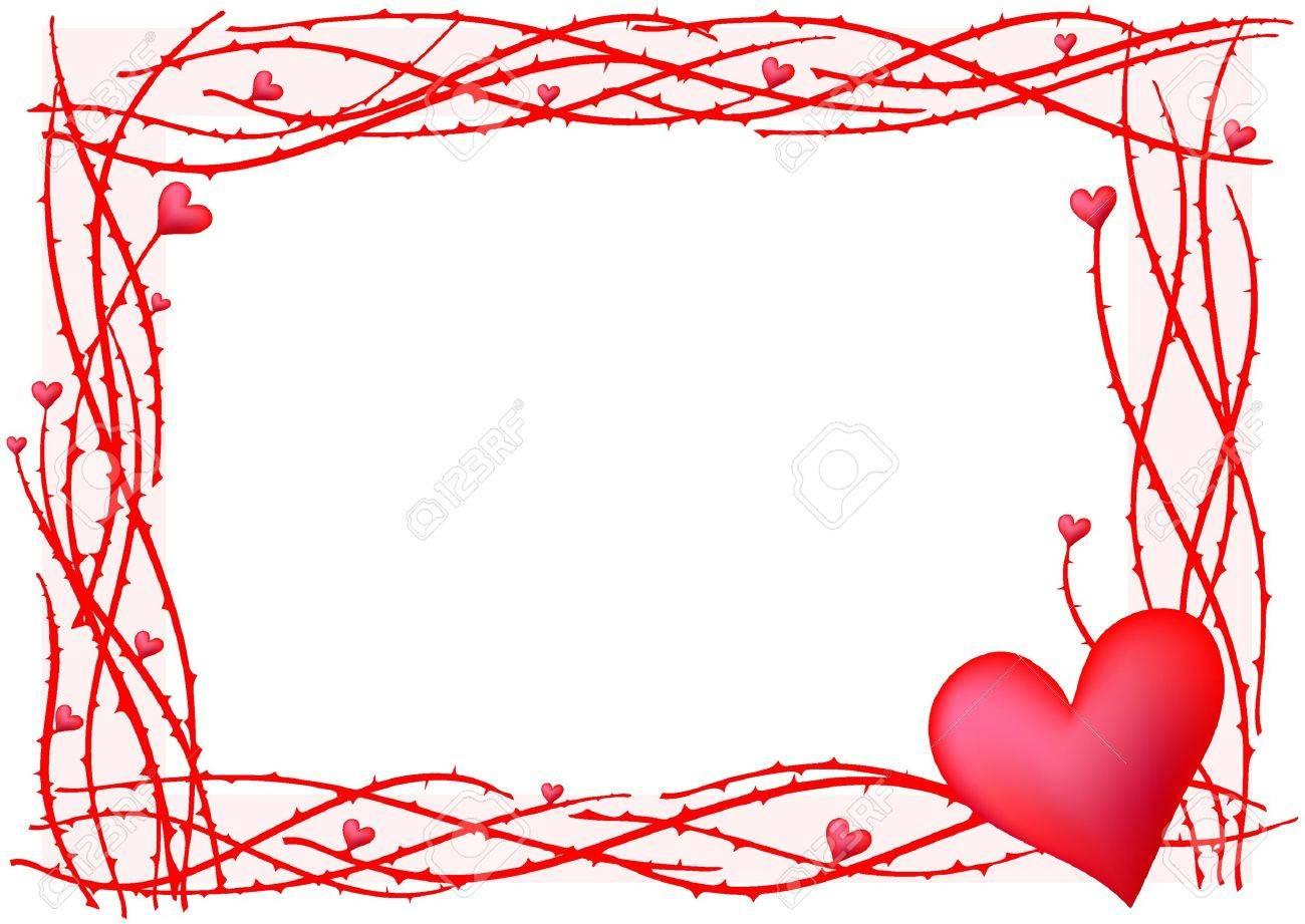 Illustration Of Red Valentine Frame With Heart Royalty Free ...