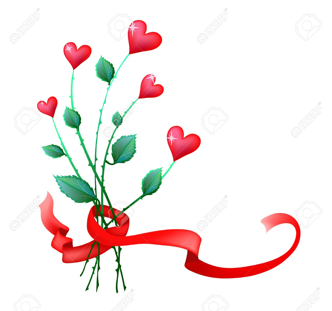 Illustration Of Valentine Flowers With Ribbon Royalty Free ...