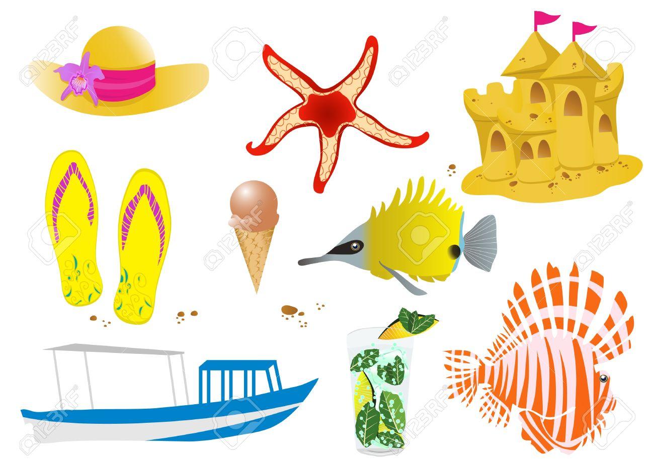 ilustración de los objetos de vida silvestre y la playa de mar