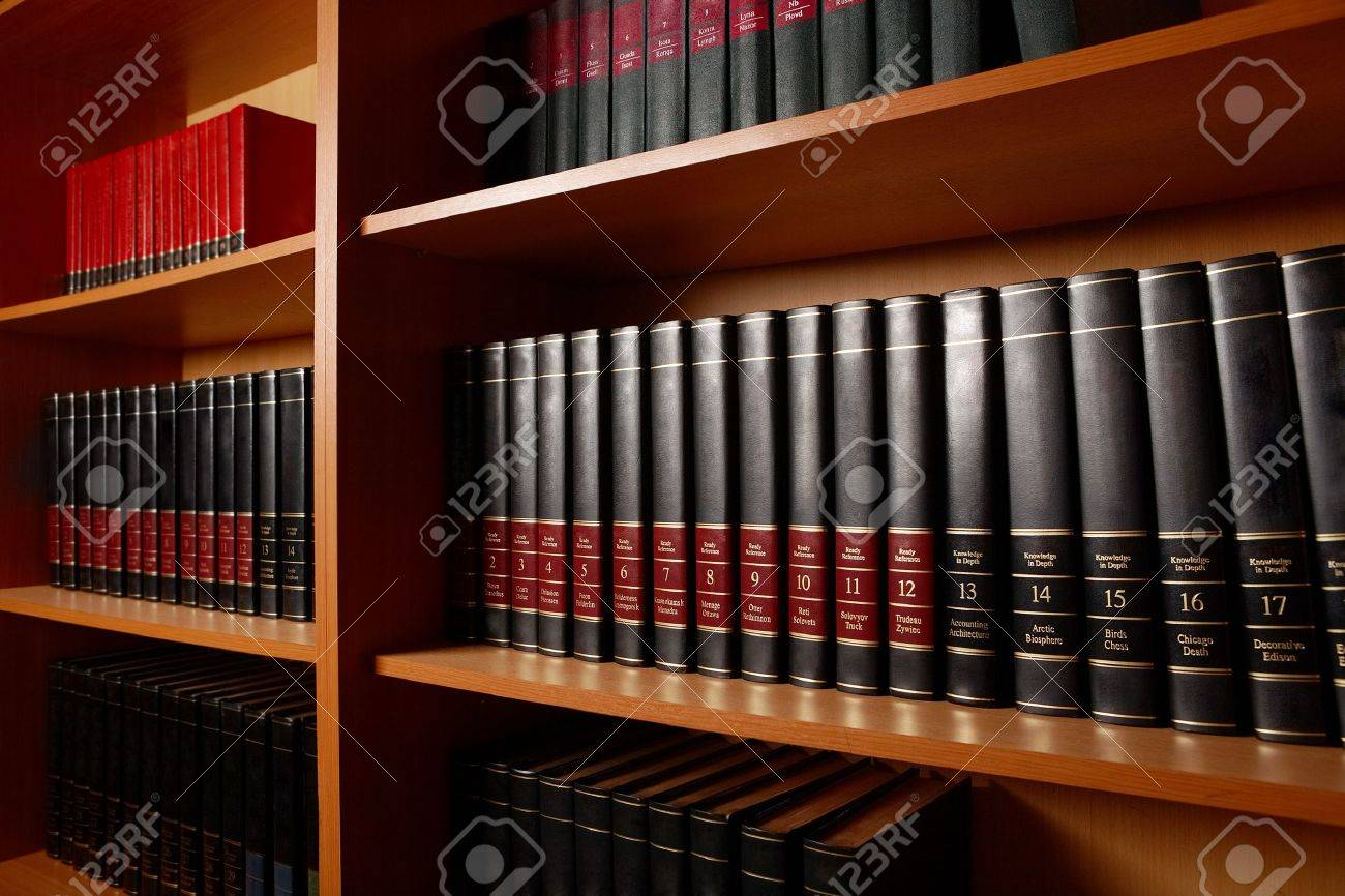 Photo of shelves with books in big library of educational institution Stock Photo - 9572184