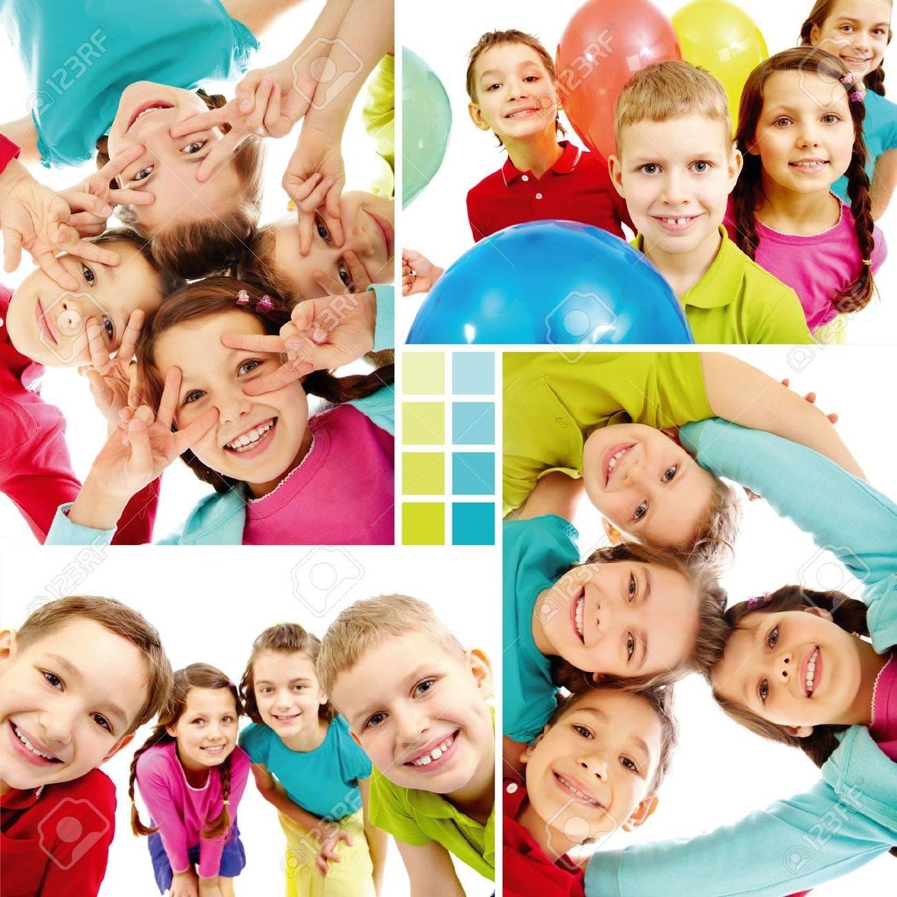 Collage De Equipo De Niños Felices En El Estado De ánimo Alegre ...