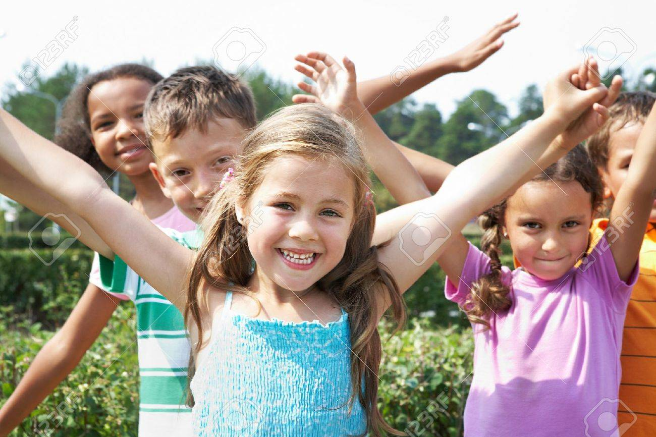 Portrait of happy children having fun and smiling at camera Stock Photo - 9634228