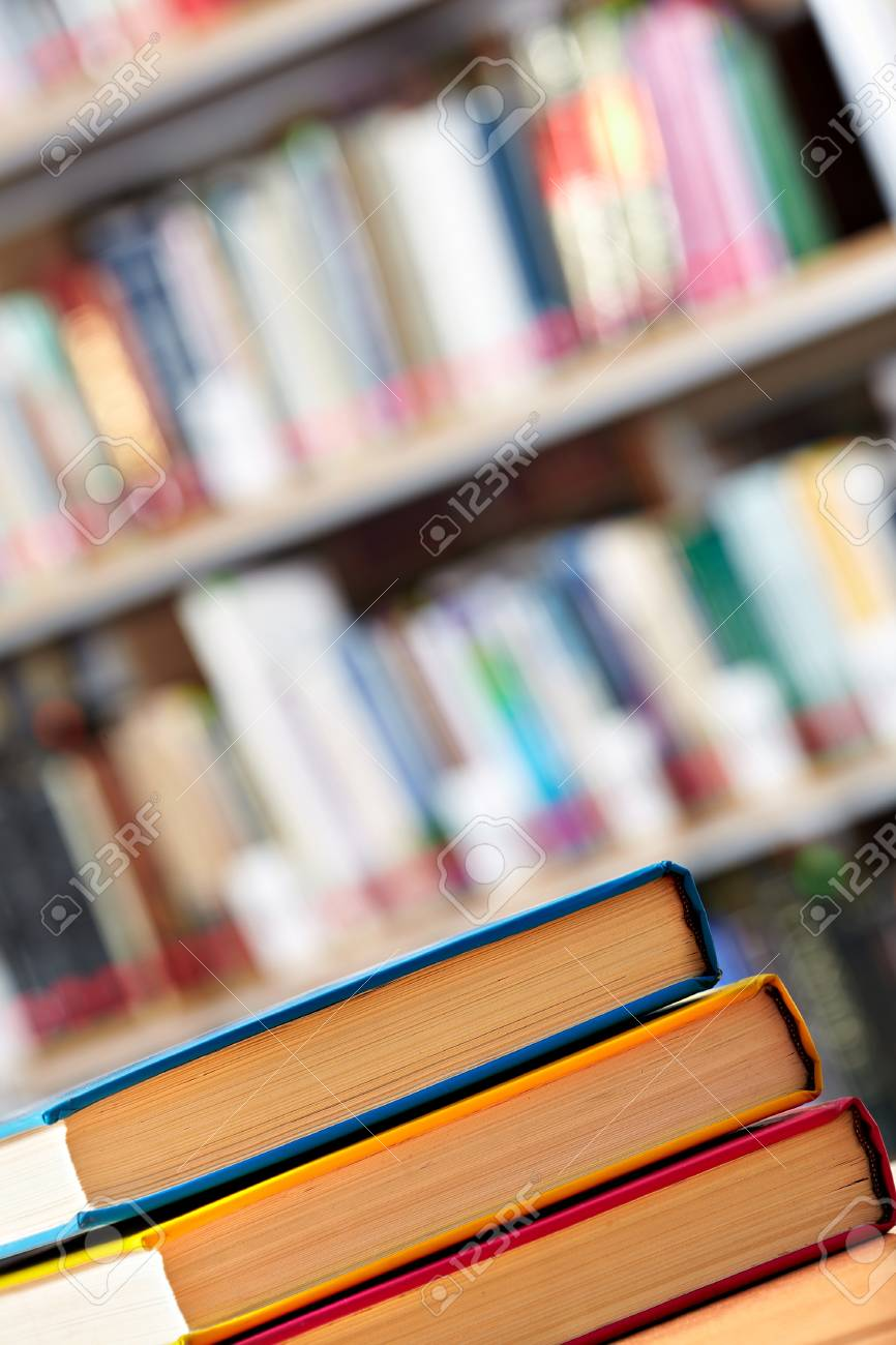 Colorful stack of books in library Stock Photo - 9633788