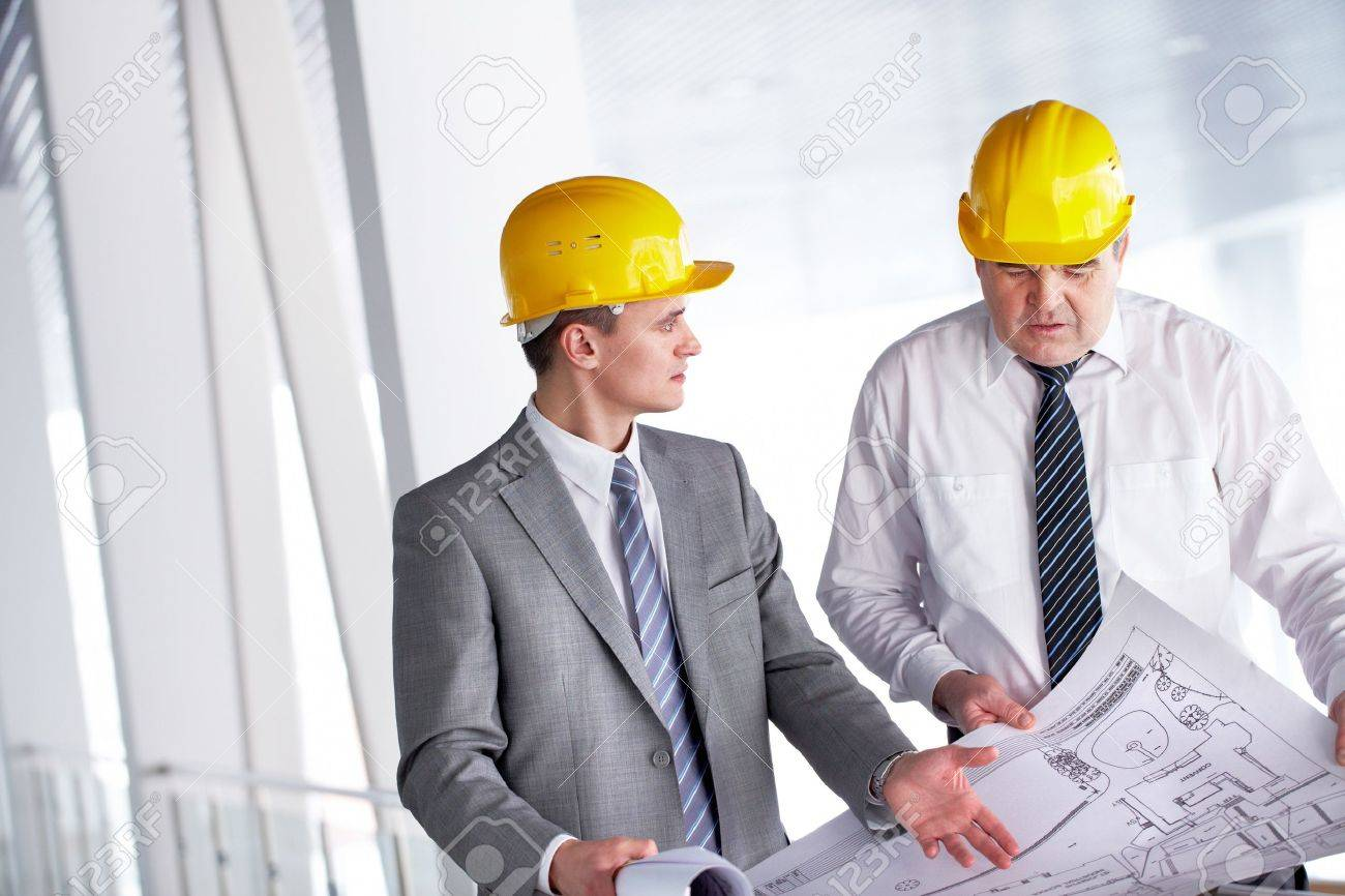 Two architects discussing new project at meeting Stock Photo - 9725266