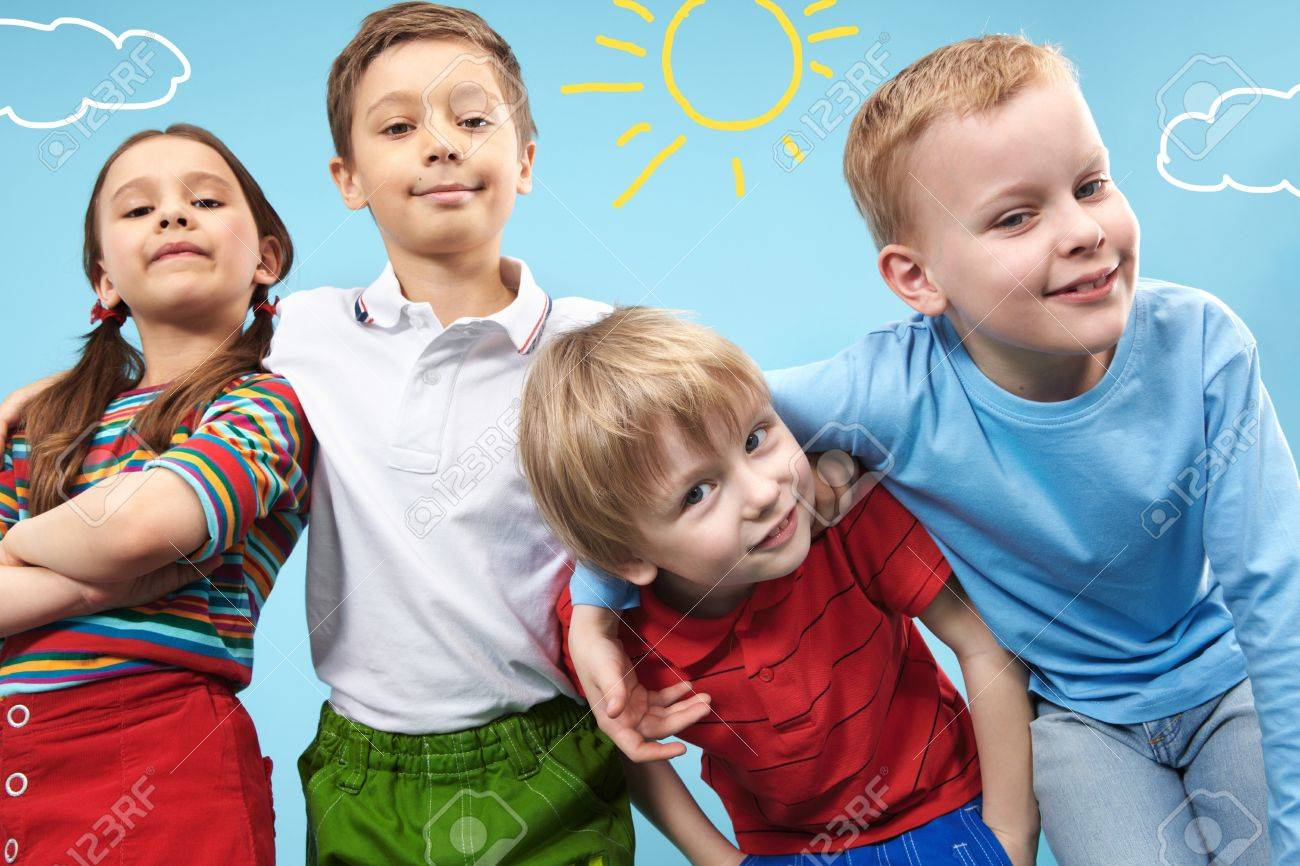 Group of adorable kids looking at camera in creative environment Stock Photo - 9725881