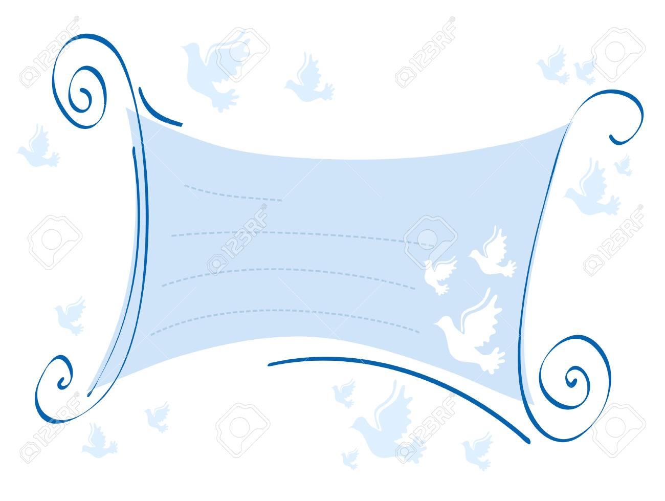 Vector illustration of blue invitation with pigeons Stock Illustration - 9726258