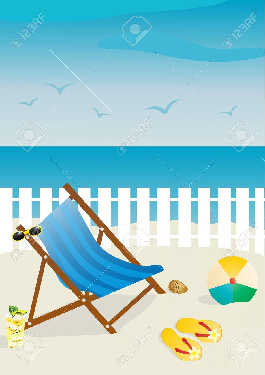 Flip Flop Chair Vector Illustration Of Beach Chair With Sunglasses And Ball