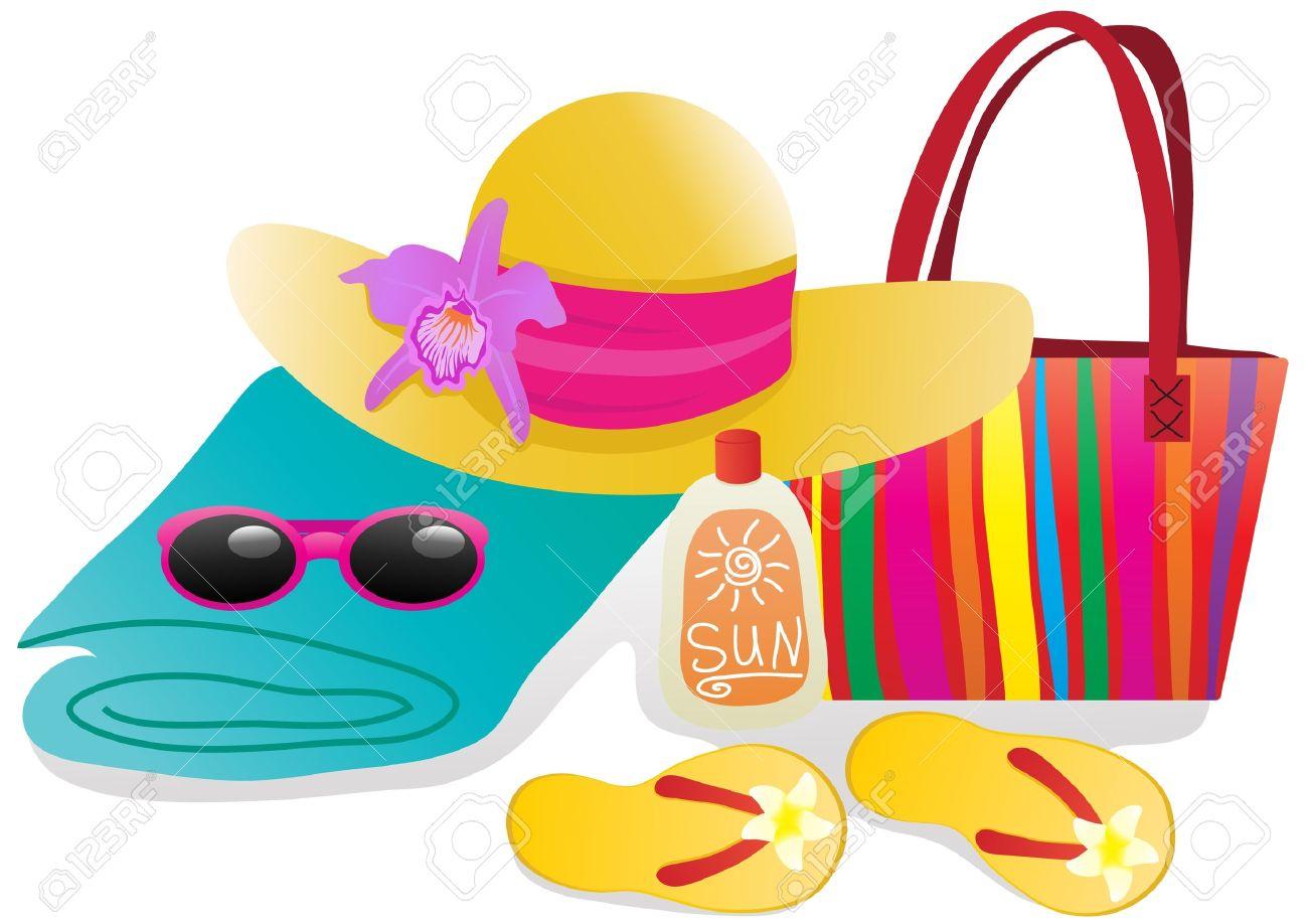 ilustración de vector de objetos de playa para vacaciones fotos