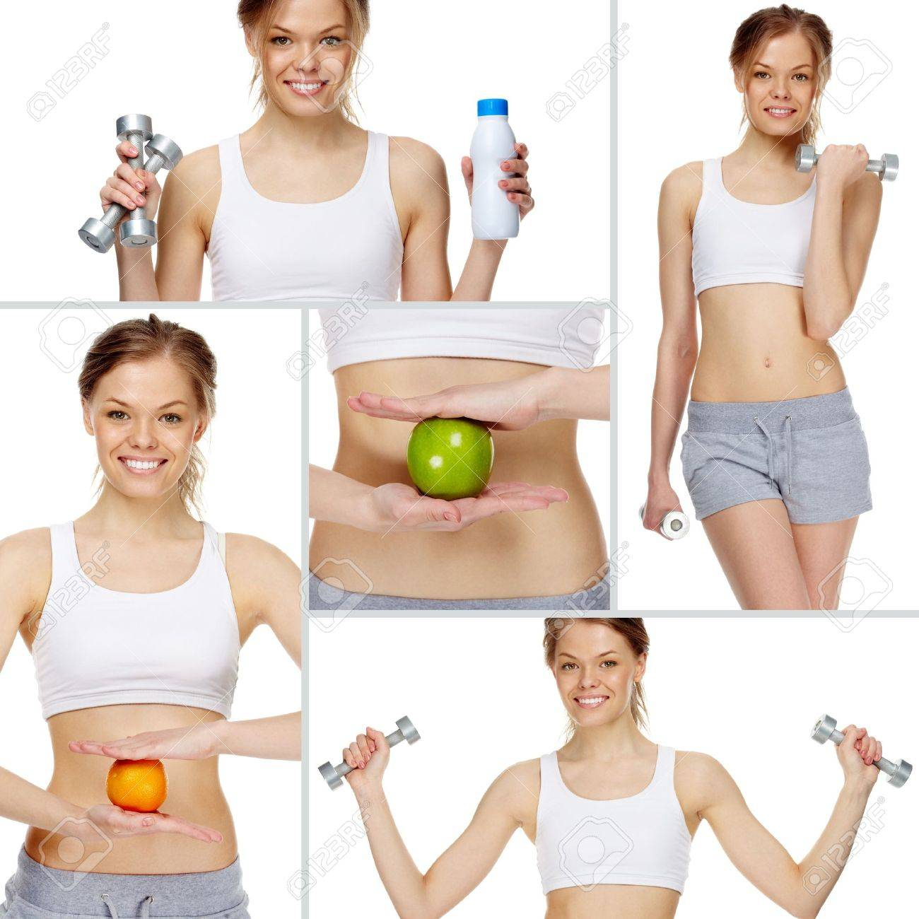 Collage made of girl practicing healthy lifestyle Stock Photo - 9727012