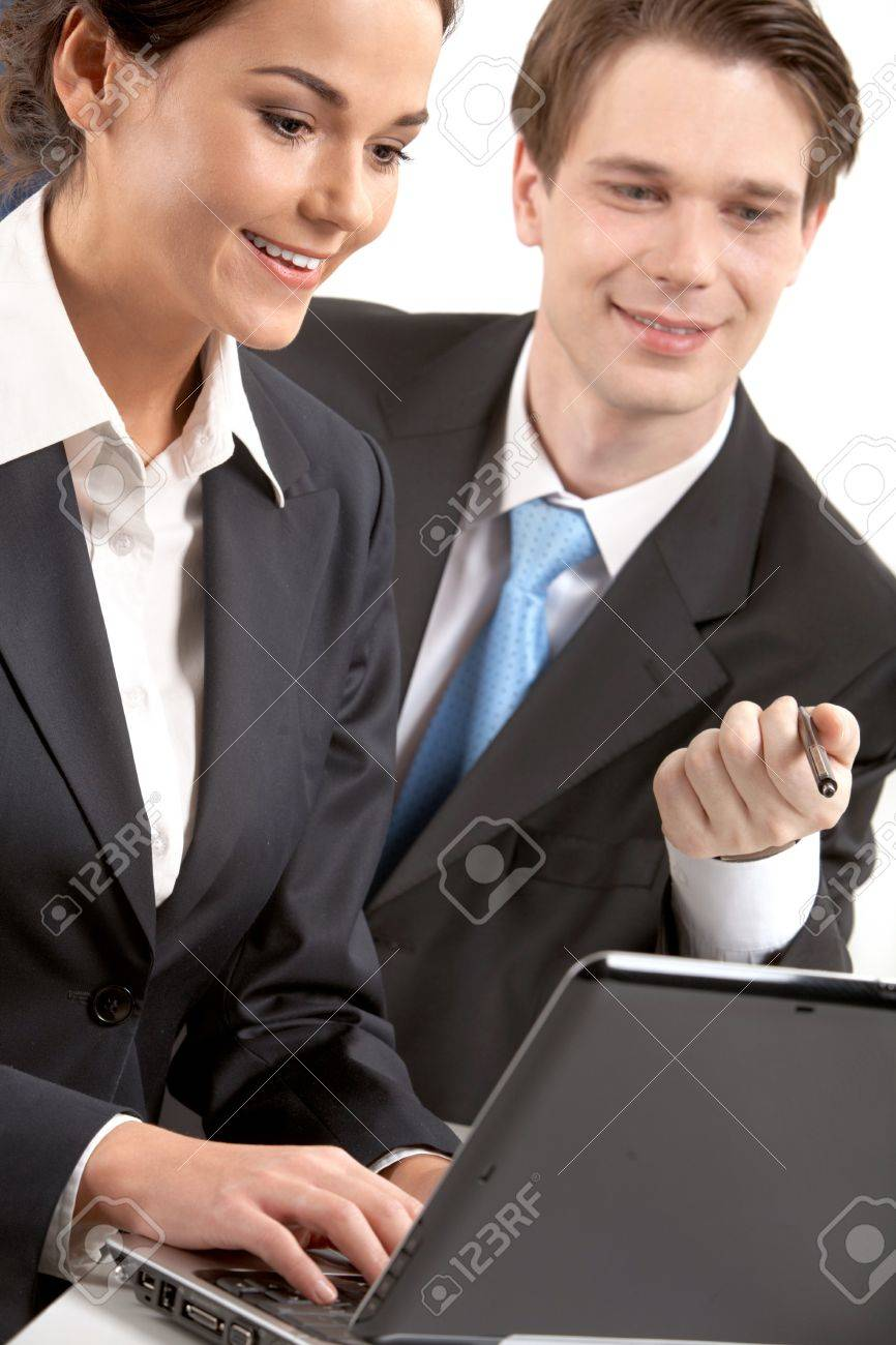 A woman typing on laptop by her chief Stock Photo - 9727163