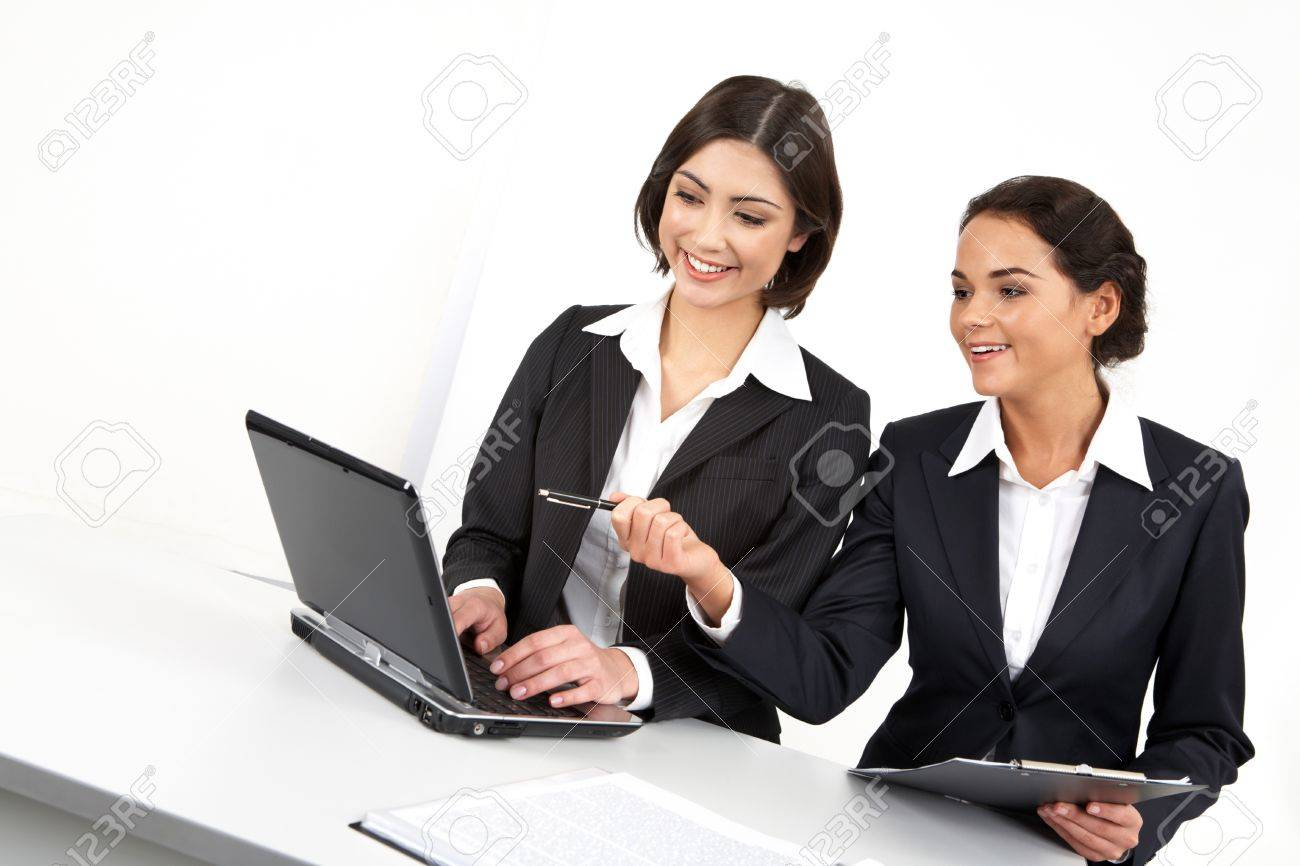 Two businesswomen working together with computer Stock Photo - 9727116