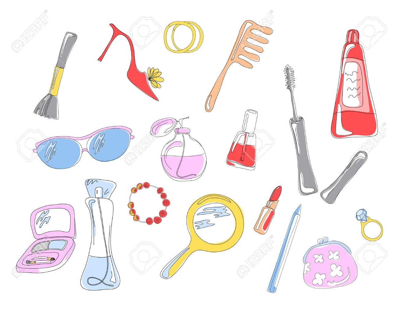 Collection of cosmetic objects and accessories, vector illustration Stock Vector - 9720645