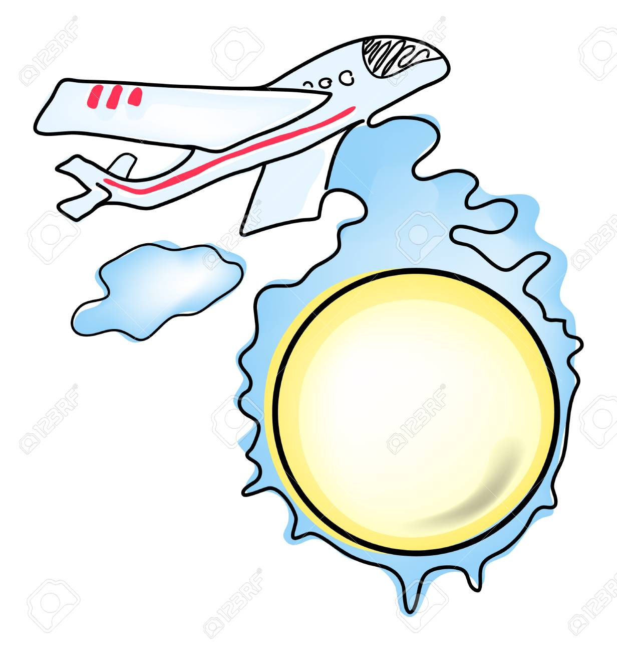 Vector illustration of modern airplane flying over earth Stock Vector - 9720640