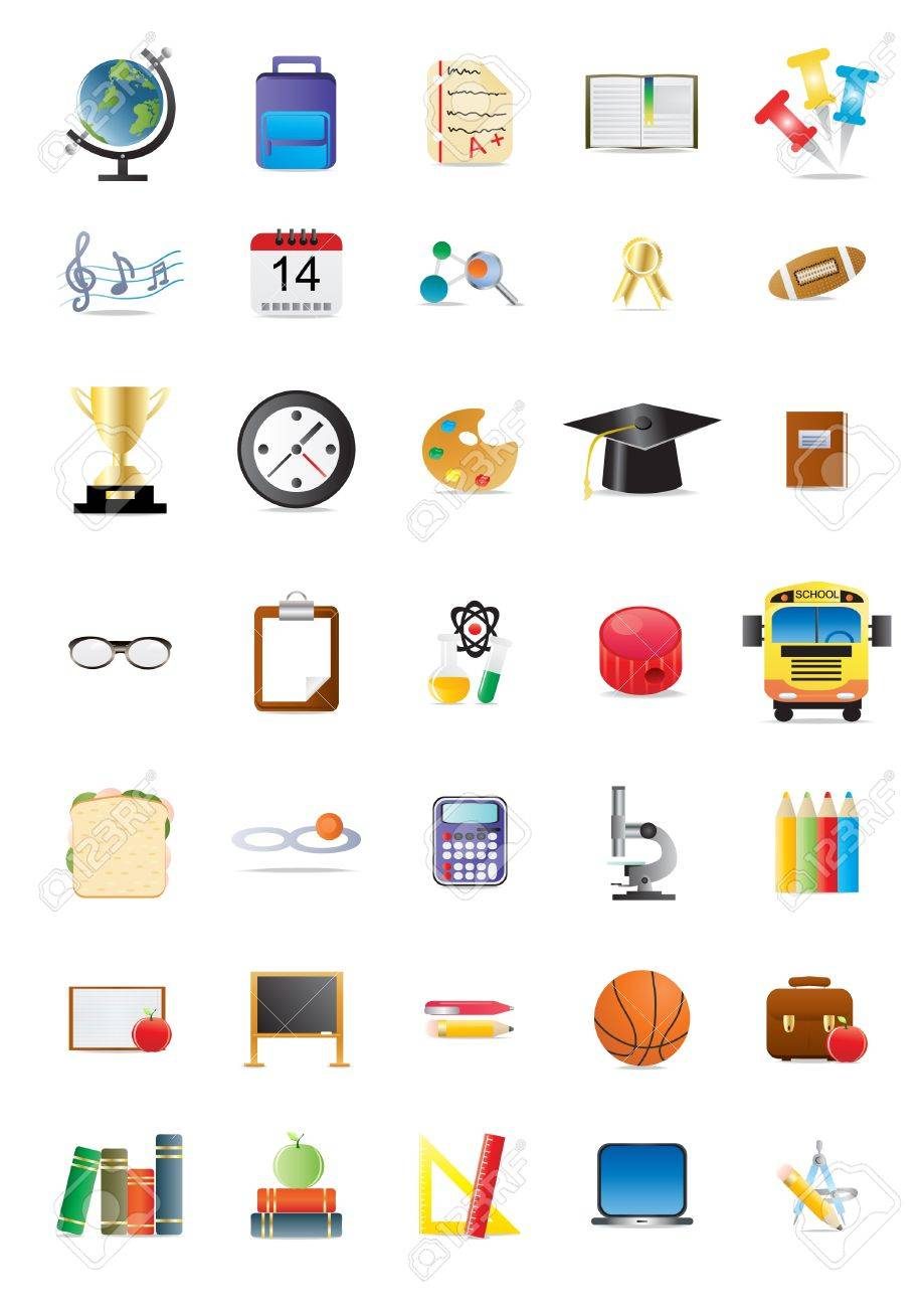 Collection of school and education icons Stock Vector - 9728269