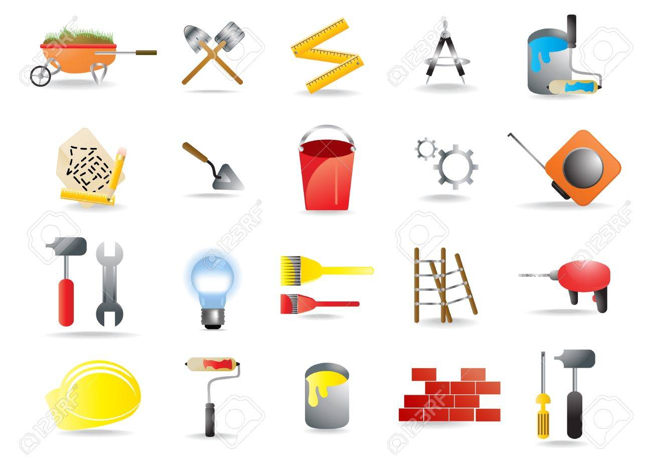 icons representing construction and building tools Stock Vector - 9728126