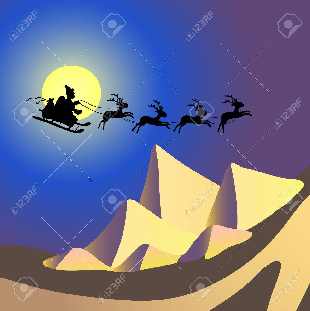illustration of Santa Claus with reindeers flying over Egypt Stock Vector - 9727434