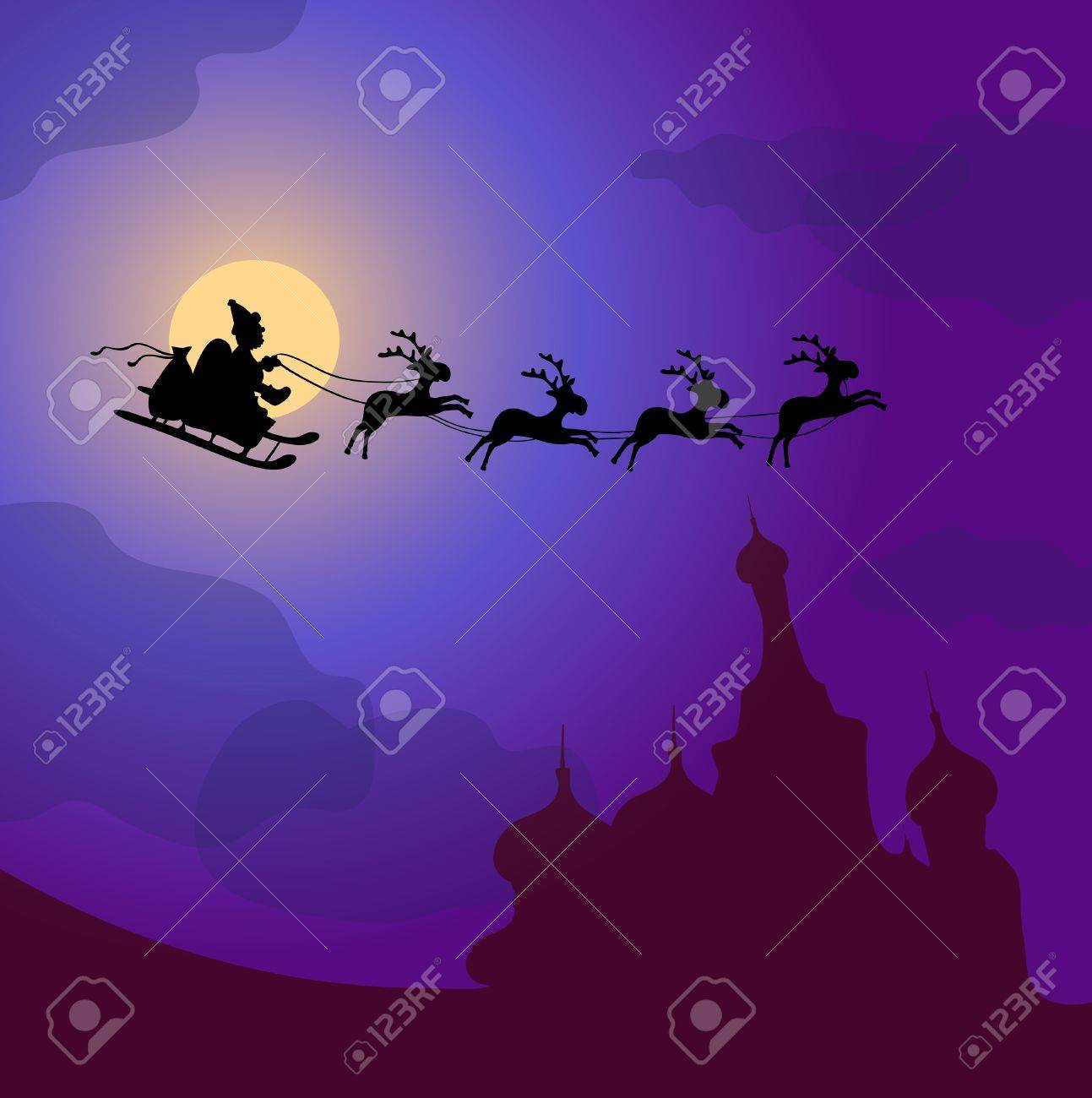 illustration of Santa Claus with reindeers flying over Russia Stock Vector - 9727462
