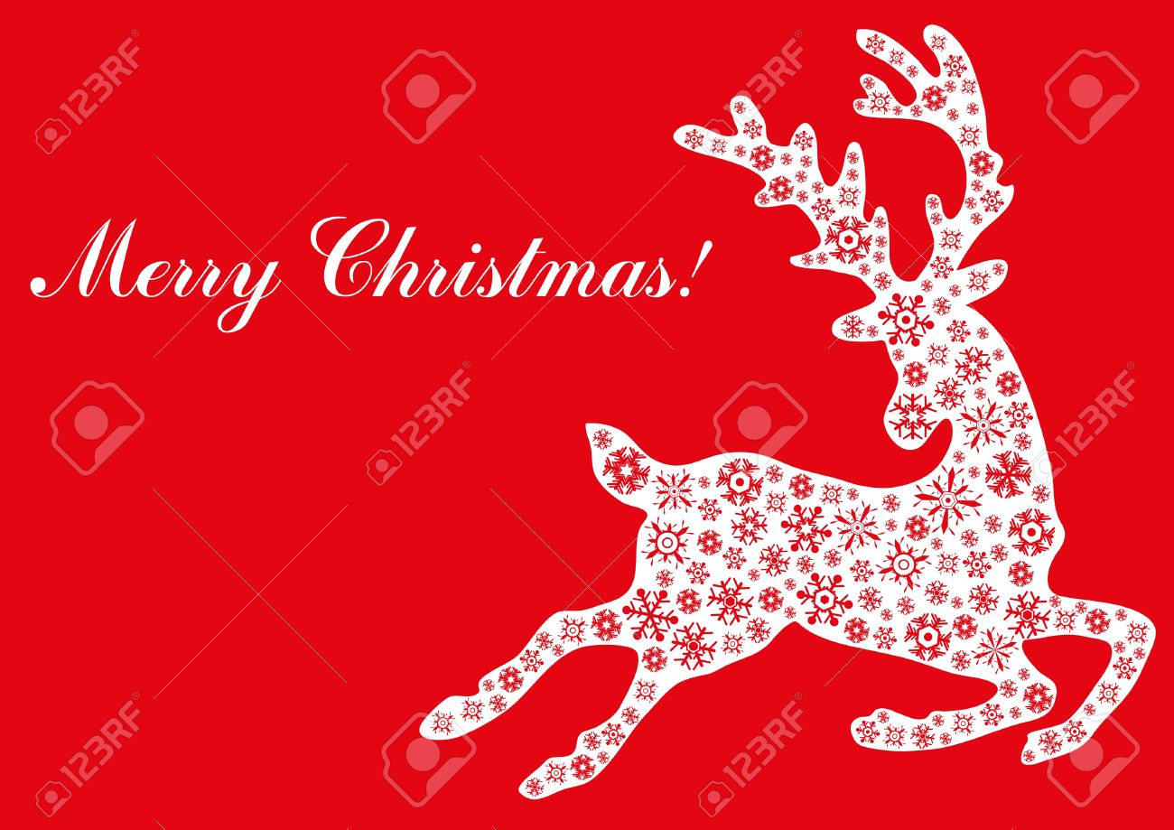 Illustration Of Jumping Reindeer With Text Merry Christmas Royalty ...