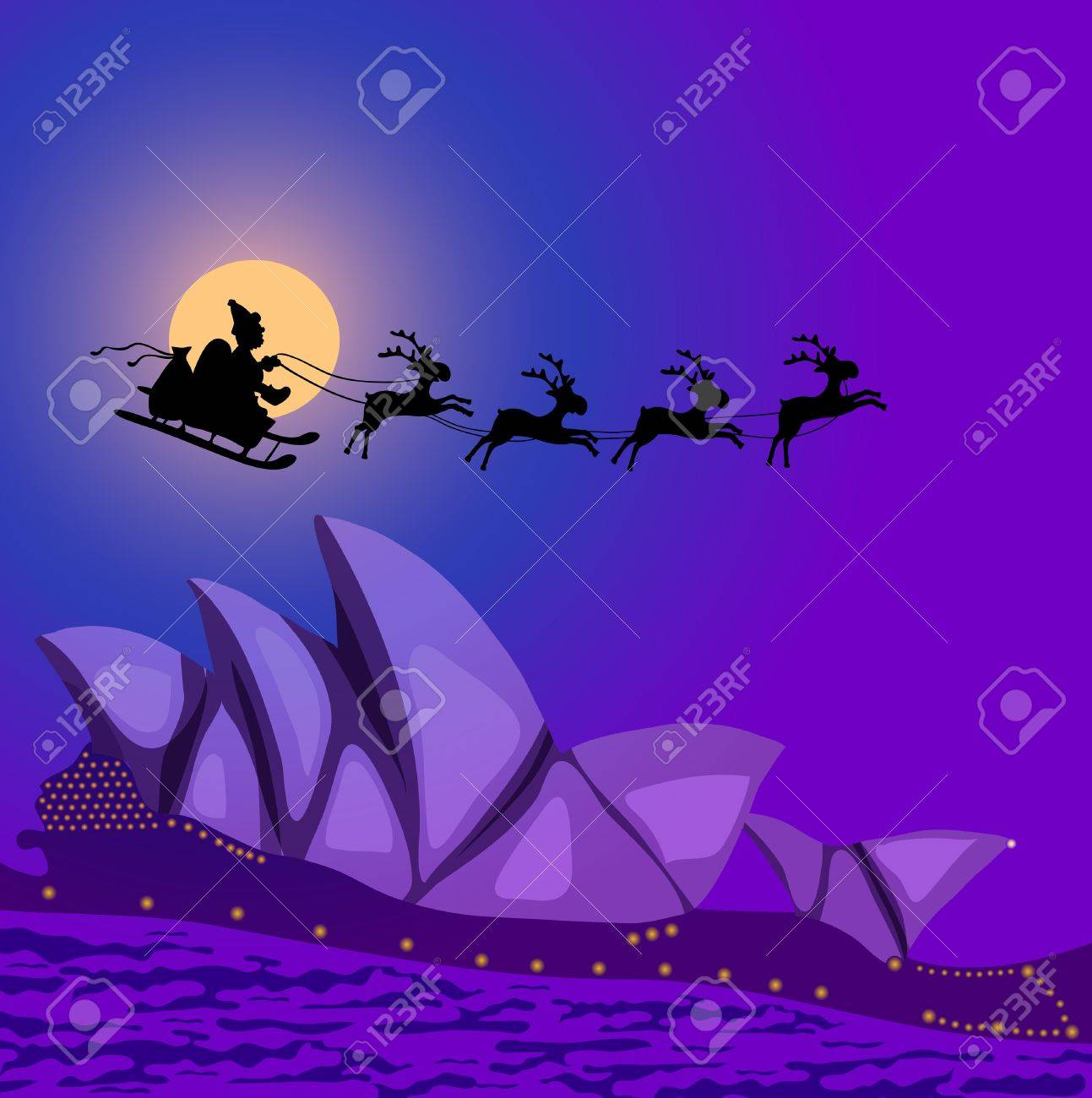 illustration of Santa Claus with reindeers flying over Australia Stock Vector - 9727987