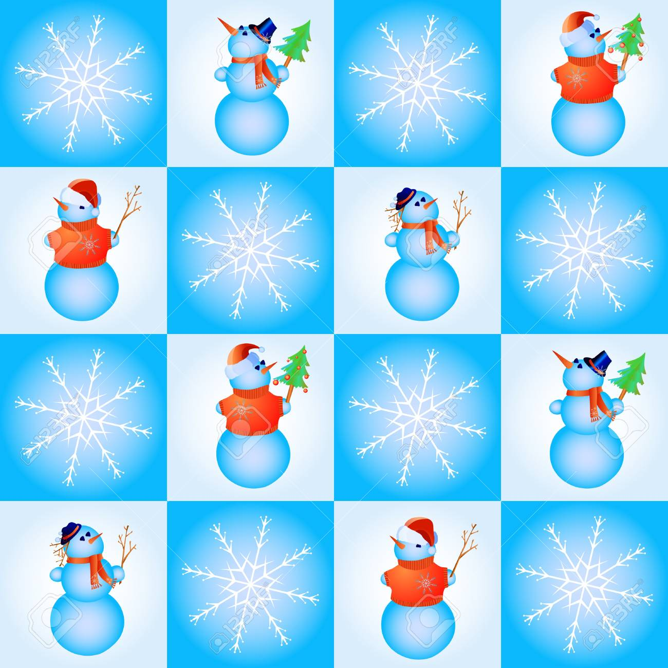 illustration of seamless with snowflakes and snowmen Stock Vector - 9726624