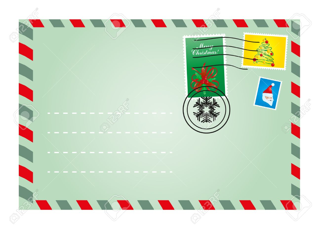 Vector illustration of Christmas envelope with cute stamps Stock Vector - 9727783
