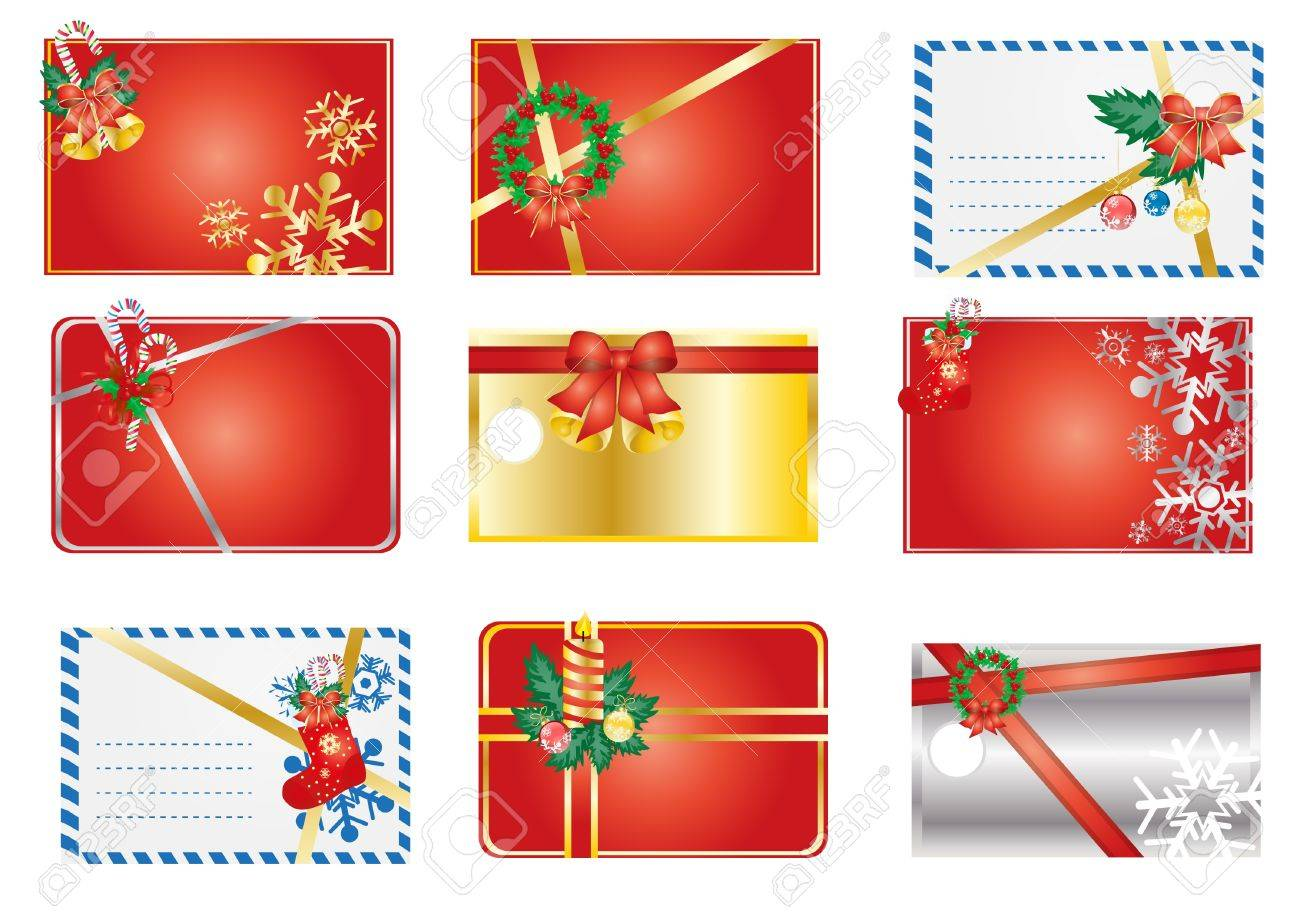 Illustration Of Collection Of Christmas Gift Labels Royalty Free ...