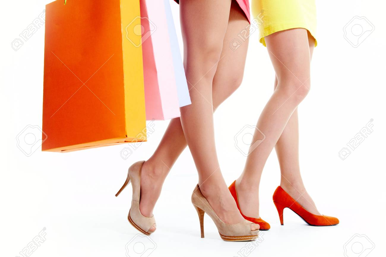 Close-up of beautiful female legs during shopping Stock Photo - 9804289