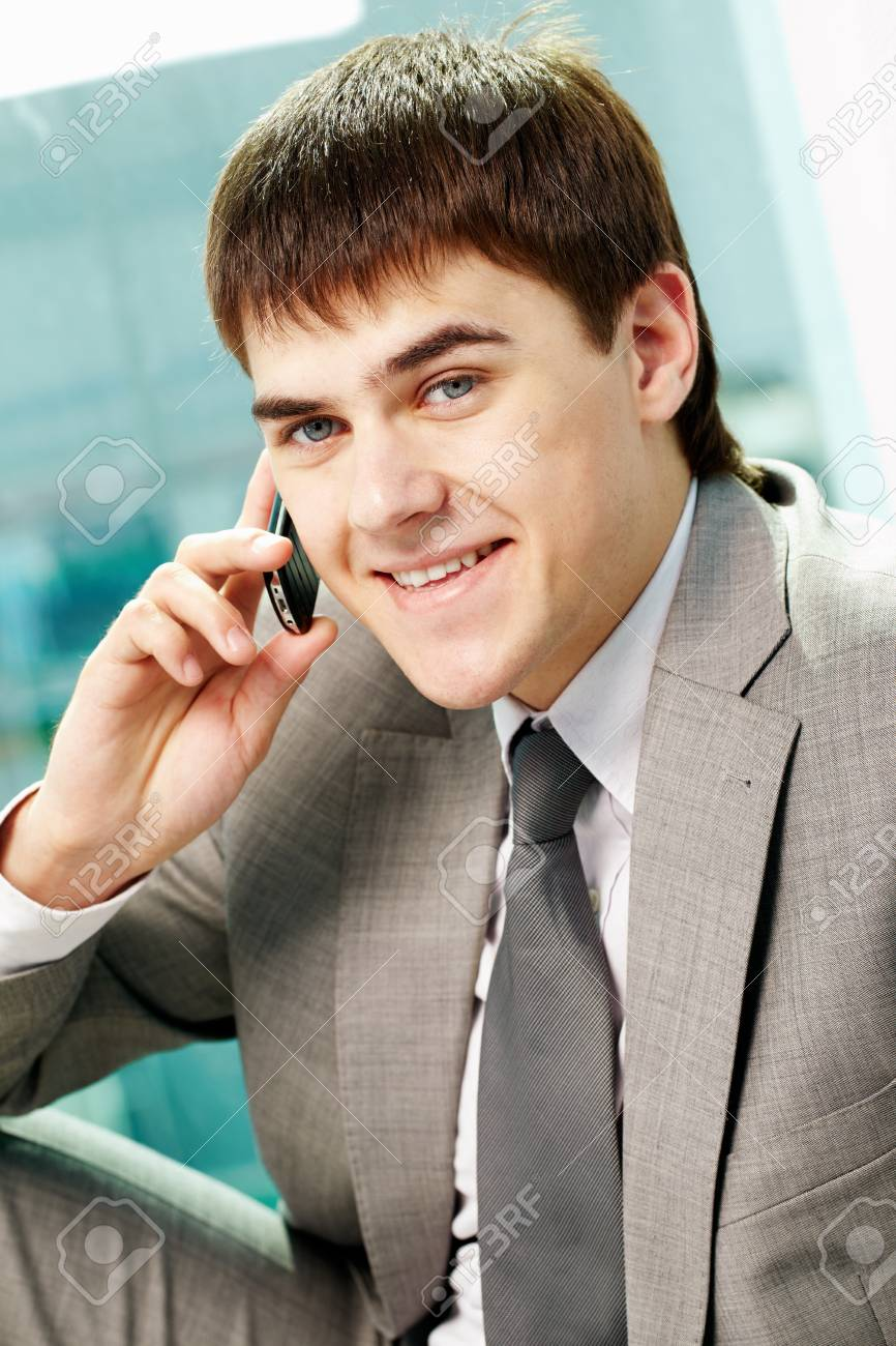 Portrait of handsome man calling by mobile phone Stock Photo - 9807301