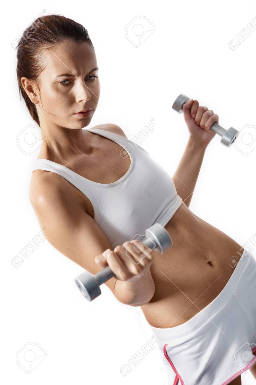 Image of fit woman doing exercise with barbells in hands Stock Photo - 9819120