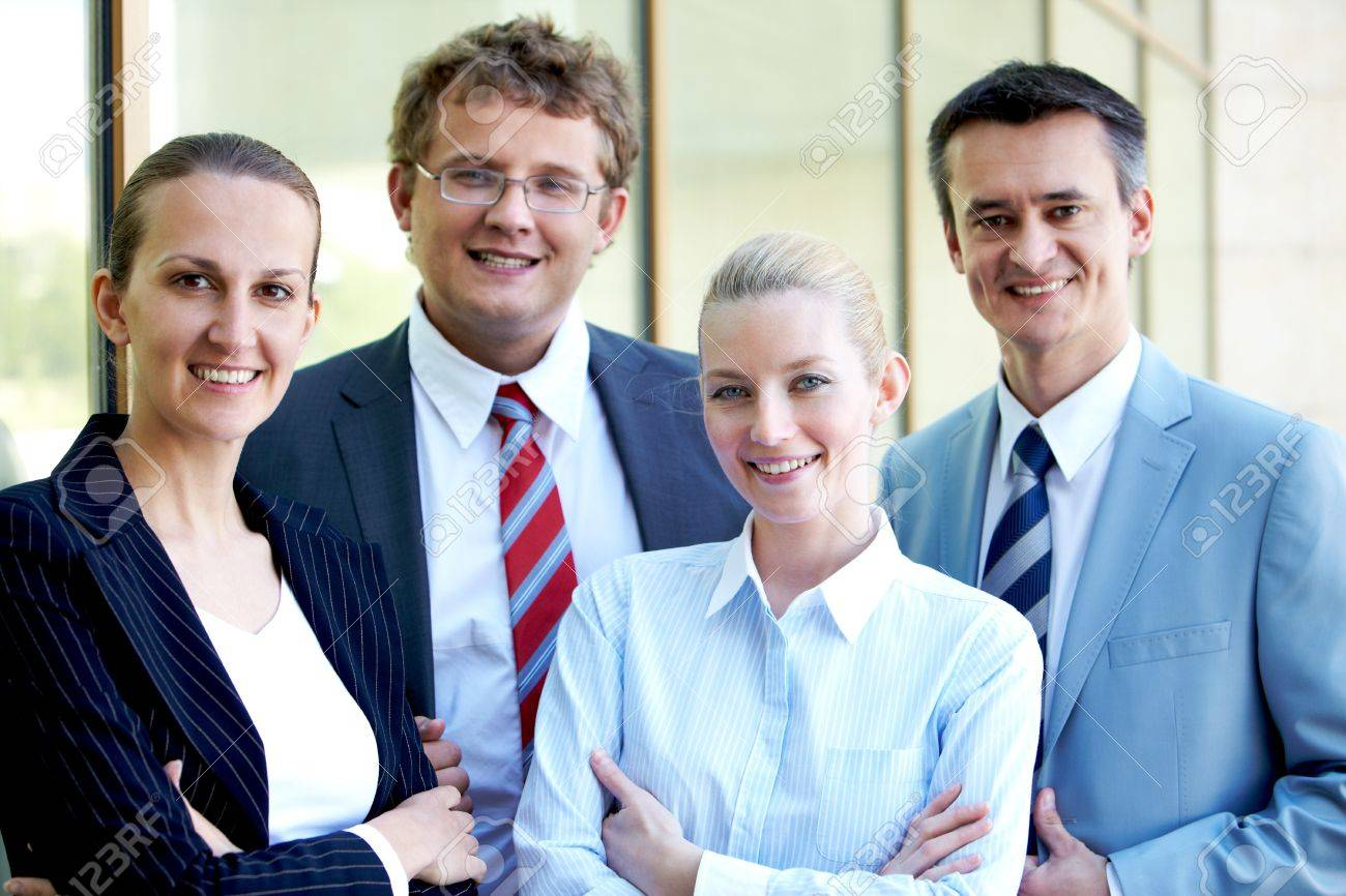 Portrait of confident business leaders looking at camera with smiles Stock Photo - 9819160