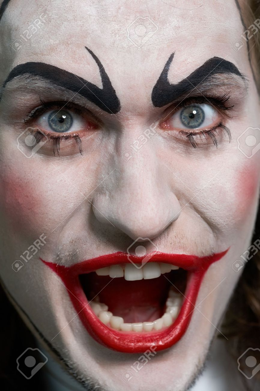 Close-up of expressive male face with theatrical makeup Stock Photo - 9963239