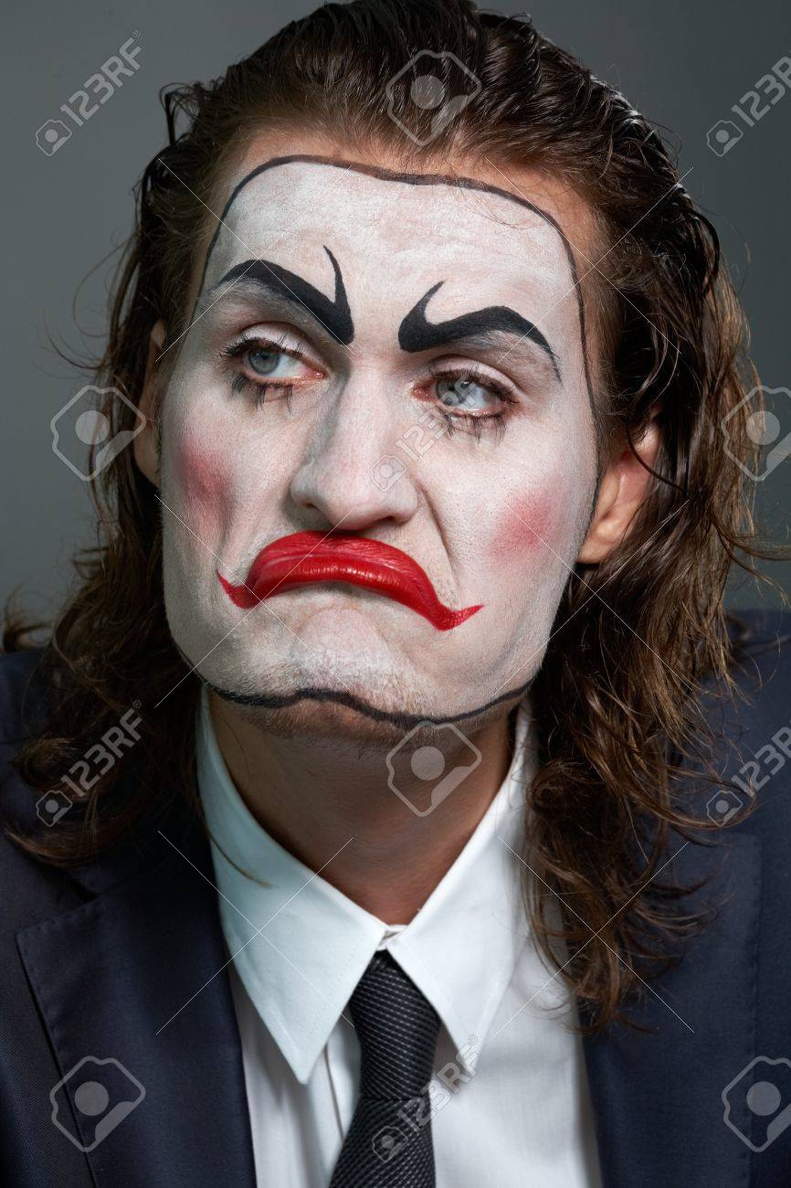 Close-up of dramatist with theatrical makeup in formalwear Stock Photo - 9963236